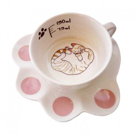 Tasse mignonne Chat et Sous-tasse Patte de Chat