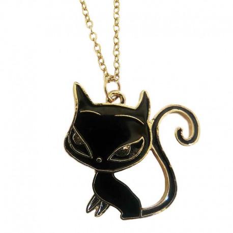 Beau pendentif en forme de Chat Noir et Doré