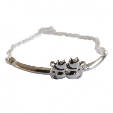 Bracelet en forme de Chats plaqué Argent