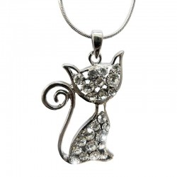 Pendentif Chat Strass et Eclat