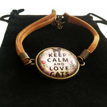 Bracelet de Chat Keep calm & Love Cats