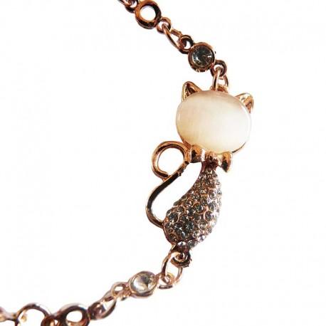 Beau Bracelet avec un chat fantaisie Rose