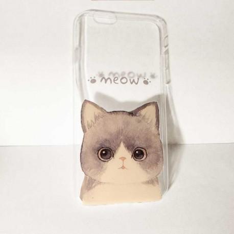 Coque Iphone Personnalisée Meow Gris
