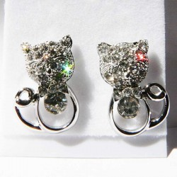 Boucles d'oreilles Chat Glamour Strass