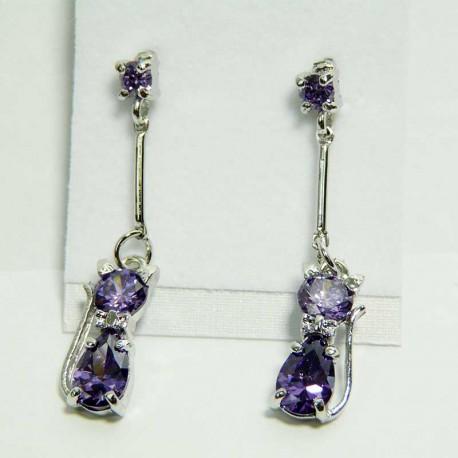 Boucles d'oreilles originales Pendants violets