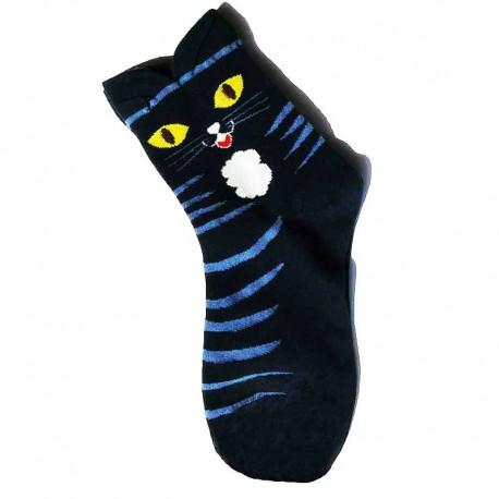 Chaussettes à rayures Chat Déjanté