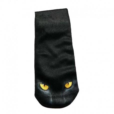 Chaussettes Noires et Blanches Fines Chat Noir