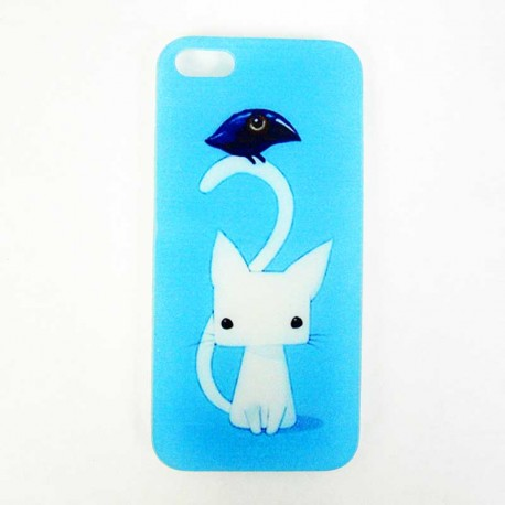 Coque Iphone 5 originale : Chat et Corbeau