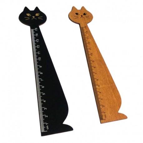 Fourniture de bureau fantaisie : Règle Chat graduée en Bois de 15cm