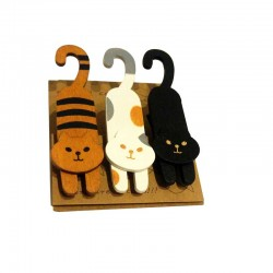 Lot de 3 Pinces Chat en Bois
