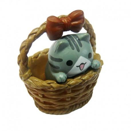 Figurine Drôle Petit Chat Manga dans un Panier