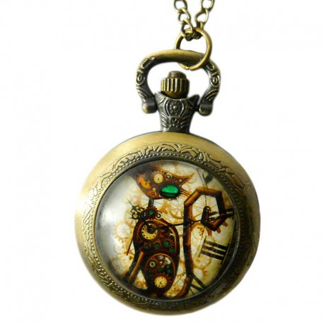 Montre de poche Steampunk Chat