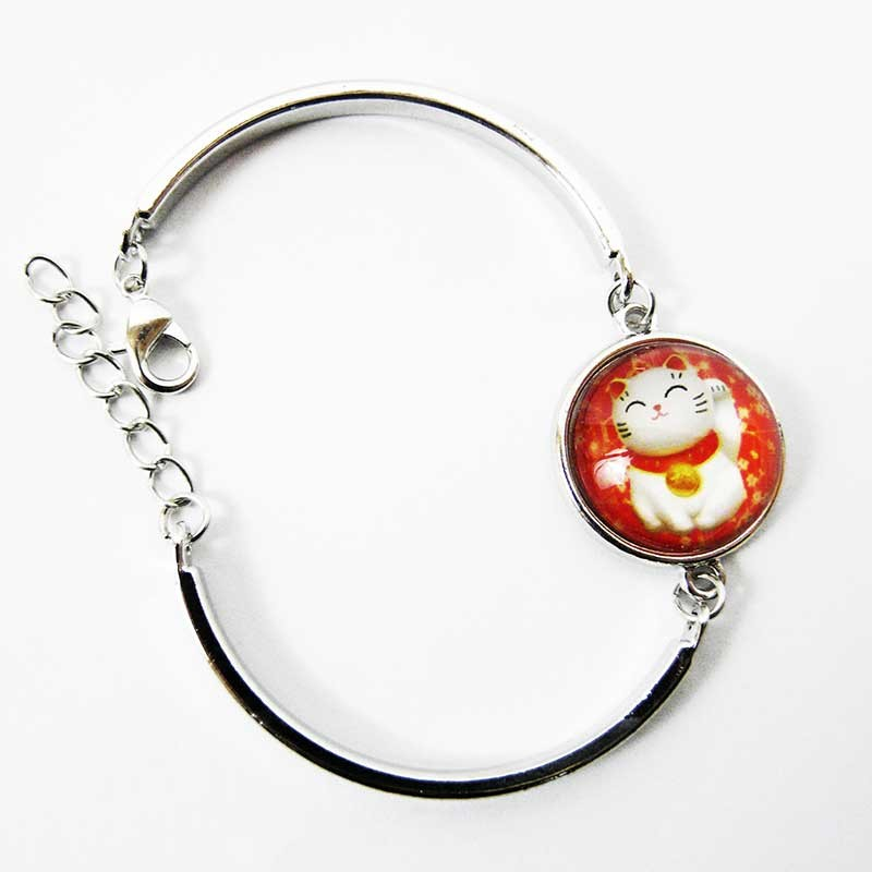 Très joli bracelet porte bonheur trois Chat maneki neko japonais réglable