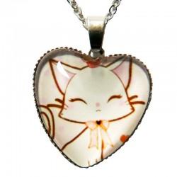 Pendentif Cabochon Cœur Kitty