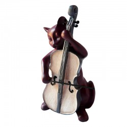 Statuette Chat Musicien