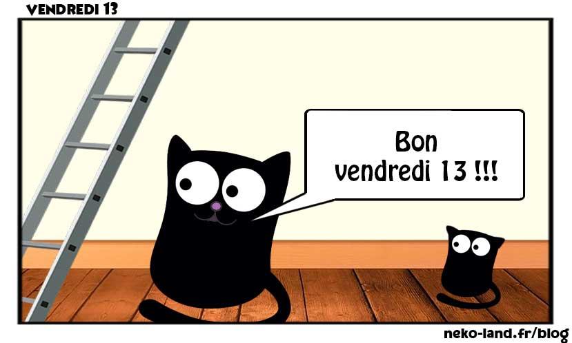 Mascotte Chat et chaton Nekoland Bon Vendredi 13