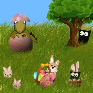 Le Dino de Pâques : Bonnes fêtes de Pâques sur Nekoland