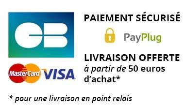 Paiment sécurisé, Livraison offerte à partir de 50 euros d'achat